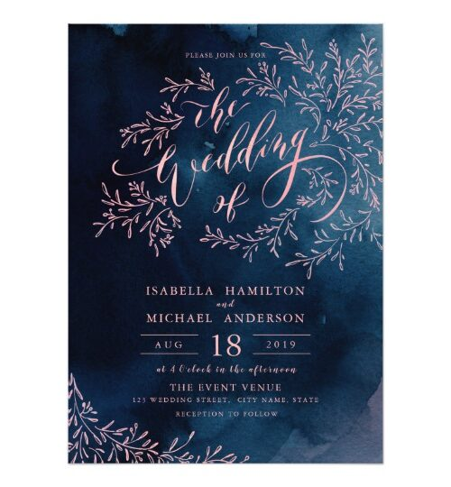 Navy blush calligraphy rustic floral wedding suite