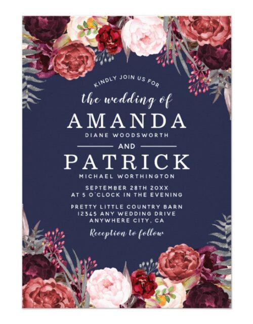 Navy Marsala Peony Wedding Invitations Collection
