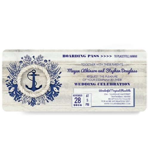 Driftwood Navy Anchor Nautical Wedding Collection