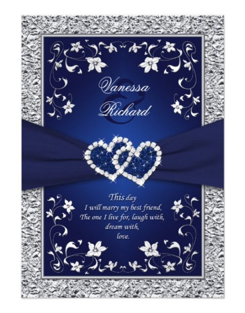 Navy, Silver Floral, Joined Hearts