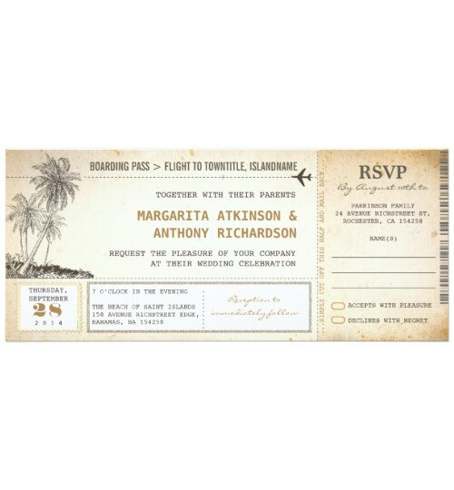Old Boarding Pass Beach Wedding Collection