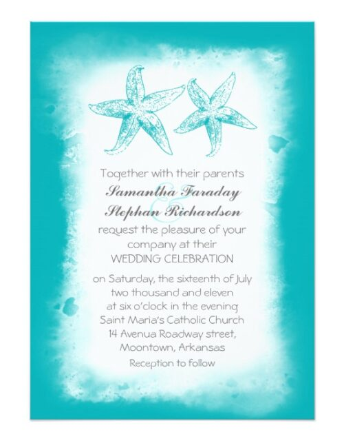 Watercolor Starfish Nice Beach Wedding Collection