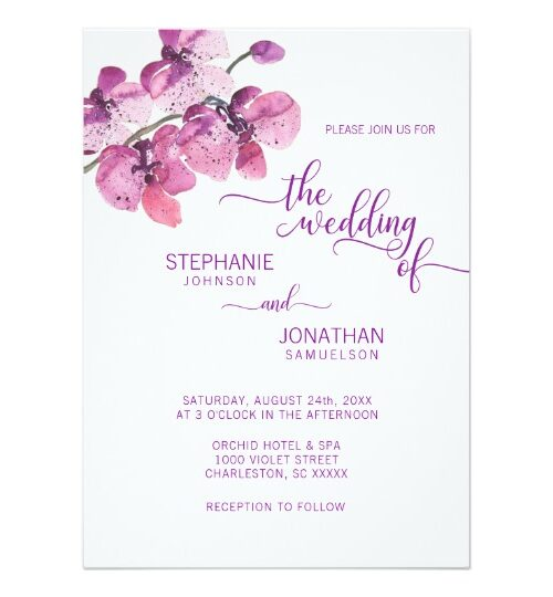 Watercolor Purple ORCHID Floral Wedding