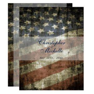 Patriotic US American Flag Wedding Invitations
