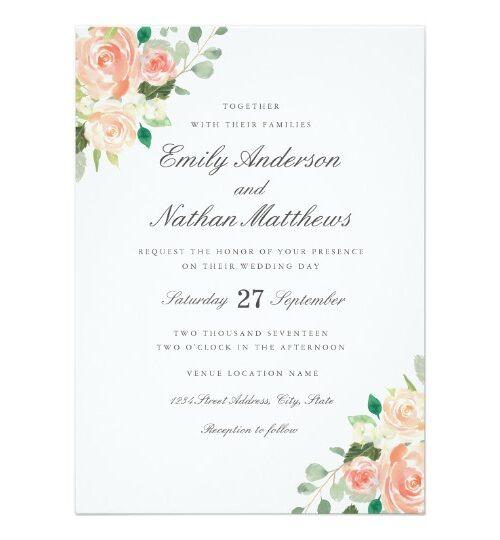 Peach Blush Watercolor Floral Wedding