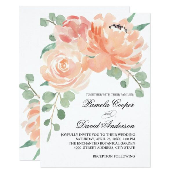 Peaches and Cream Watercolor Floral Wedding