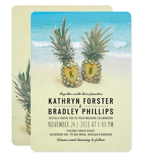 Tropical Beach Pineapple Summer Invitation Suite