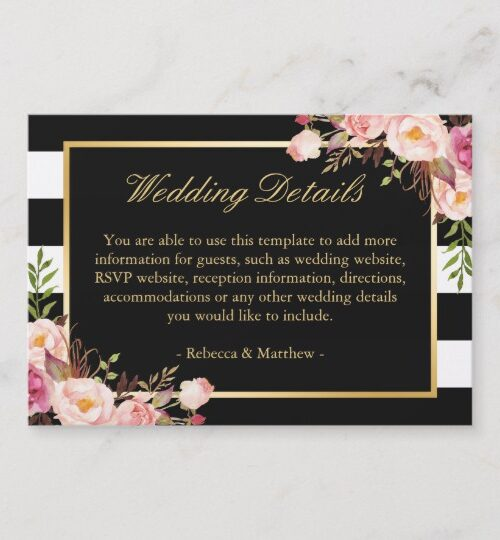 Invitation Suite: Vintage Floral Wrapping Stripes