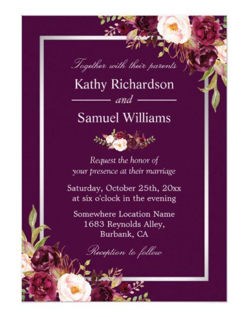 Plum Purple Floral Silver Gray Invitation Suite
