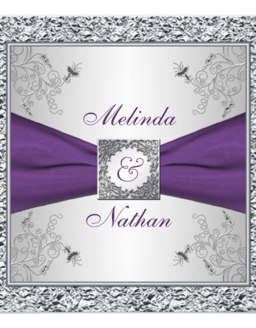 Purple Silver FAUX Foil Printed Ribbon