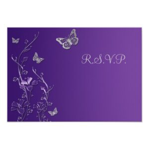 Purple, Silver Butterflies and Flowers Collection