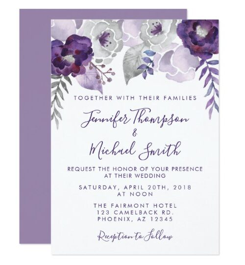 Purple and Silver Watercolor Floral Wedding