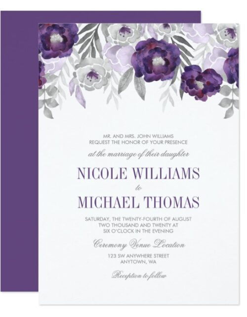 Purple Gray Watercolor Flowers Wedding Suite