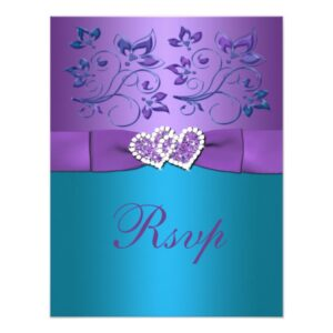 Purple, Teal Joined Hearts Wedding