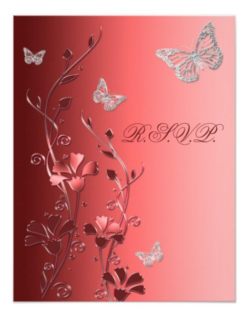 Red and Silver Gray Butterfly Floral Wedding Suite