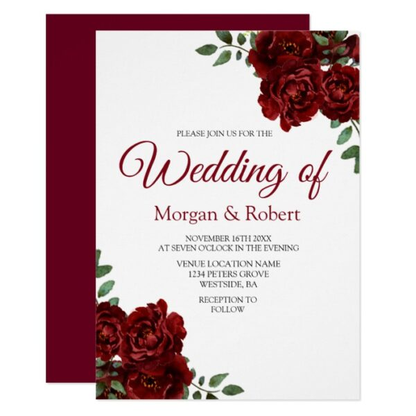 Romantic Burgundy Red Rose Wedding Collection