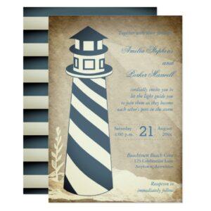 Wedding - Rustic Nautical Lighthouse Striped