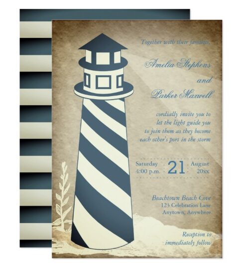 Wedding - Rustic Nautical Lighthouse Striped