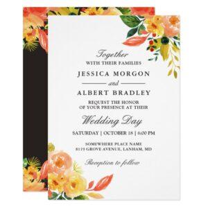 Watercolor Autumn Peach Floral Invitation Suite