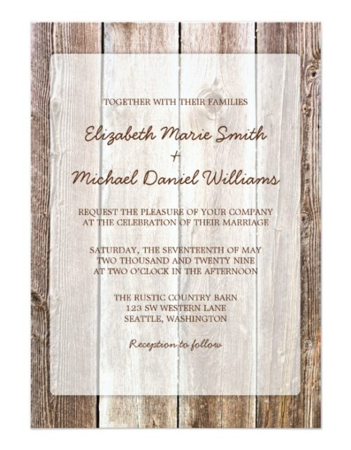 Rustic Barn Wood Wedding Invitation Suite