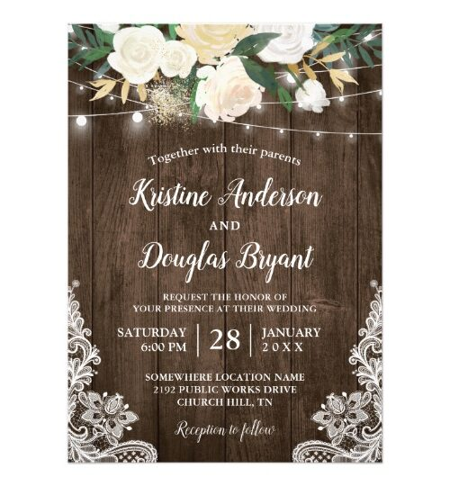 Rustic Charm Chic White Floral Invitations Suite