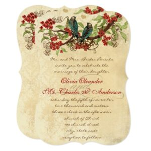 Vintage Love Bird Red Floral Wedding Collection
