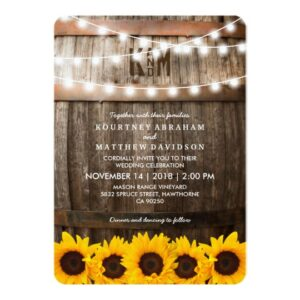 Rustic Country Sunflower Lights Invitation Suite
