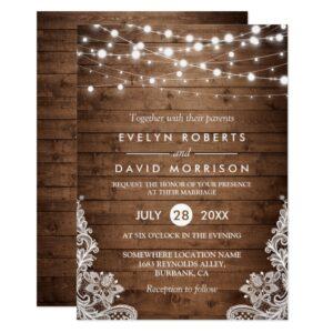 Rustic Twinkle Lights Lace Invitation Suite