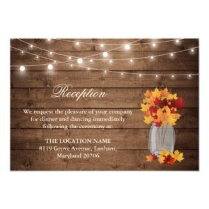 Invitation Suite: Rustic Autumn Leaves Mason Jar