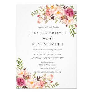 rustic floral wedding invitation set