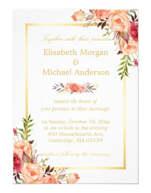 Invitation Suite: Rustic Gold Orange Floral