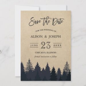 Invitation Suite: Rustic Kraft Winter Pine Trees