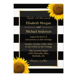 Invitation Suite: Sunflowers Black White Stripes