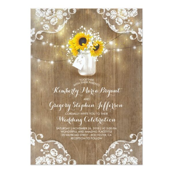 Rustic Mason Jar and Sunflowers with Baby's Breath