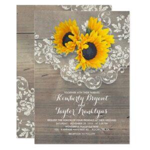 Dreamy Sunflowers Rustic Vintage Lace Suite