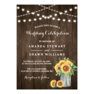 Invitation Suite: Rustic Sunflowers String Lights