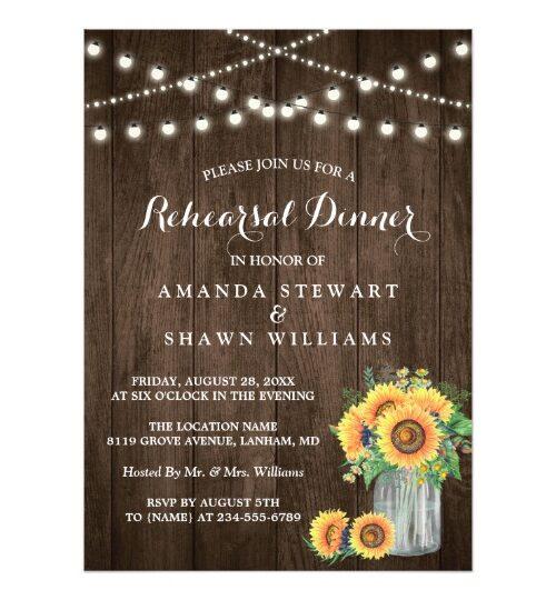 Invitation Suite: Rustic Sunflowers String Lights