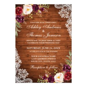 Rustic Wood, Burgundy Floral, Lights & Lace