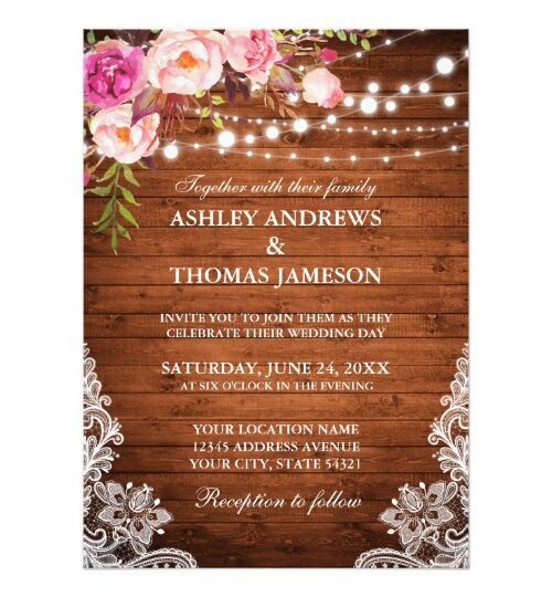 Wedding - Rustic Wood, Pink Floral, Lights & Lace