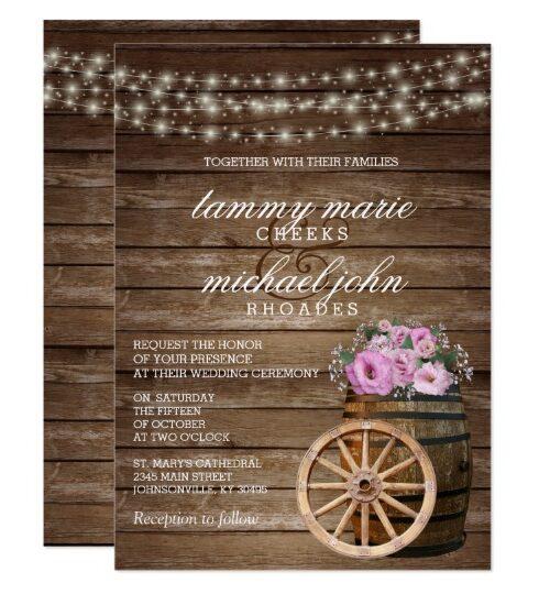 Rustic Wood Barrel Wedding with Flowers