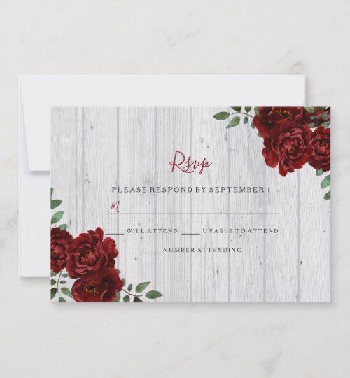 Romantic Burgundy Red Rose Rustic Invitation Suite