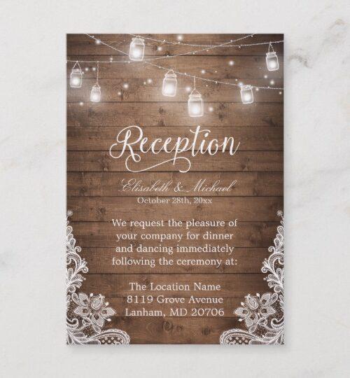 Invitation Suite: Mason Jars String Lights Wood