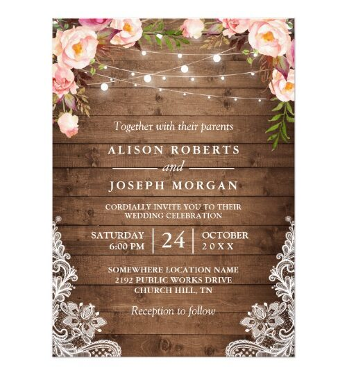 Rustic Floral String Lights Lace Invitation Suite