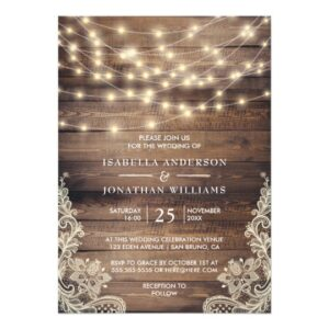 Rustic Wood & String Lights | Vintage Lace Wedding