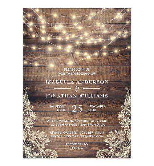 Rustic Wood & String Lights | Vintage Lace Wedding