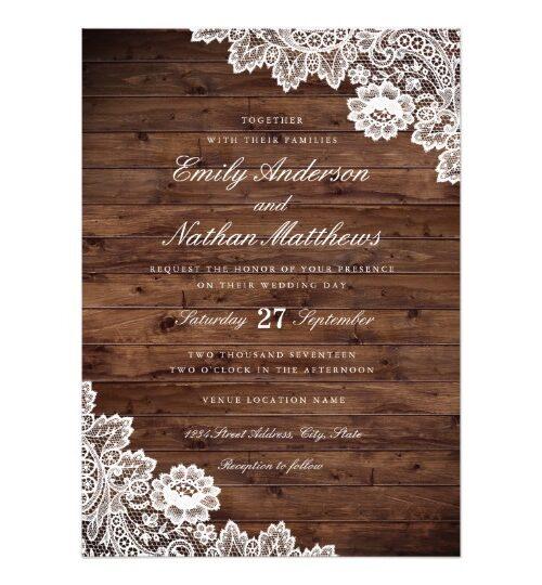 Rustic Wood Vintage Lace Wedding