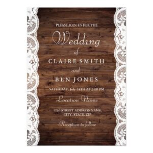 Rustic Wood & Lace Wedding Invitations