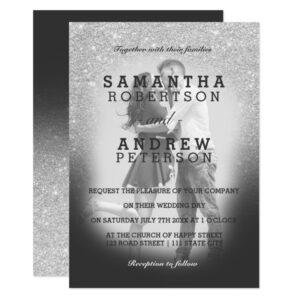 Modern simple minimalist photo wedding invitations
