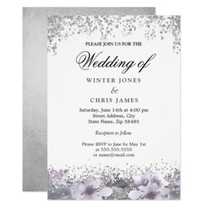 Silver Glitter Floral Purple Wedding Invitation