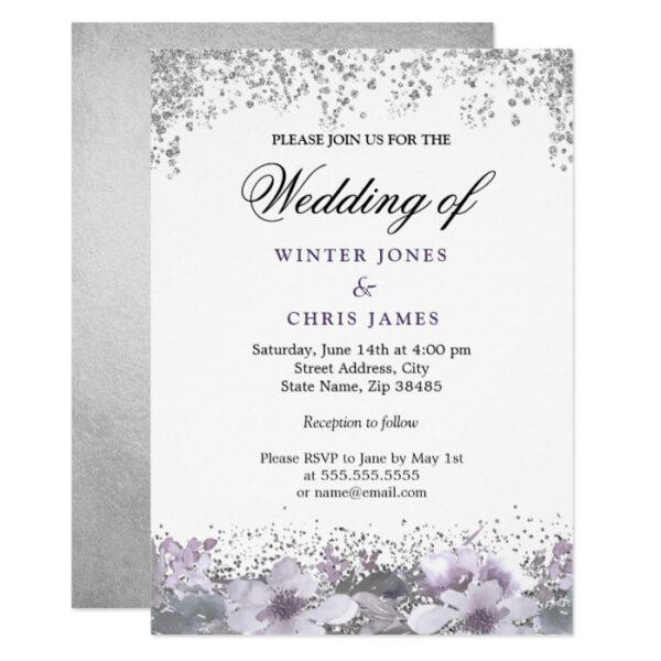 Silver Glitter Floral Purple Wedding Invitation